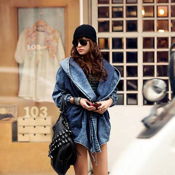 [TWOTWINSTYLE] 2017 Осень кардиган ветровка зашнуровать повязку с капюшоном плащ джинсовая куртка женская пальто негабаритных новая мода