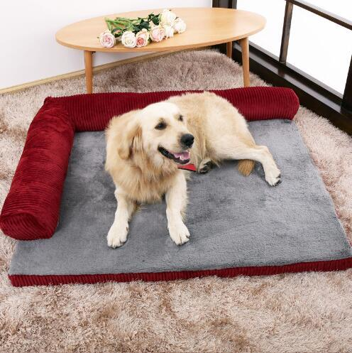 top popular S M L XL size Luxury Large Dog Bed Sofa Dog Cat Pet Cushion For Big Dogs Washable Nest Cat Teddy Puppy Mat Kennel Square Pillow Pet House 2020