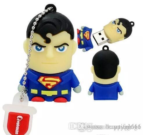 Fast ship Cartoon pendrive u disk America Captain Superman Spiderman Batman pen drive Super hero 8GB 16GB USB Flash Drive