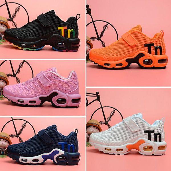 2018 год Новый Плюс Черный Белый Детская одежда Обувь Кроссовки Shoe Трипл детей количество заготовленных в течение сезона консервов сек Мальчик и девочки Air Ультра размер TN кроссовки 28-35