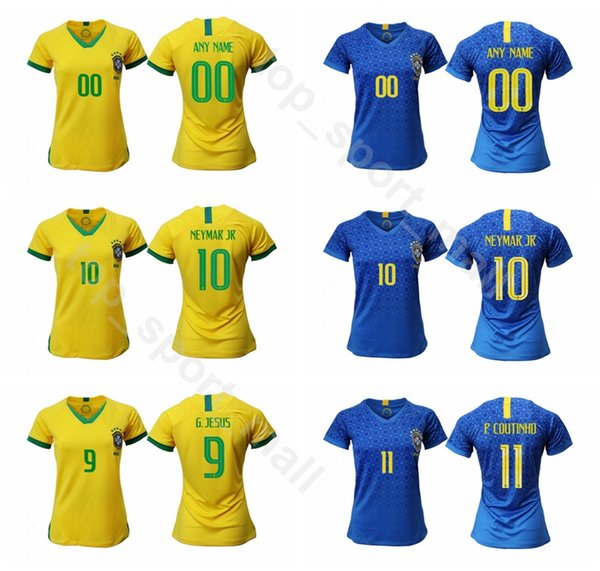 Mulheres NEYMAR JR Jersey 2018 2019 Senhora Brasil Futebol DANI ALVES PELE KAKA OSCAR RONALDO DAVID LUIZ Camisa De Futebol Da Mulher Uniforme