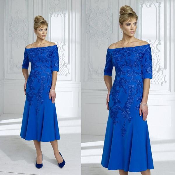2020 Royal Blue Mother Of The Bride Dresses Lace Appliqued Tea Length Off Shoulder Wedding Guest Dress For Groom Mother Formal Party Gowns