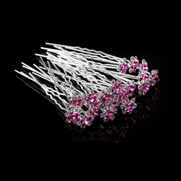 20Pc/Lot Girls Bridal Crystal Diamante Flower Rose Hairpin Clip Barrettes Sticks Hair Braider Wedding Styling Tools Accessories