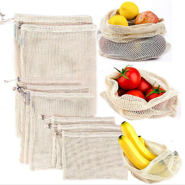 3pcs/Set Hand Totes Home Storage Bag Cotton Mesh Grocery Shopping Produce Bags Vegetable Fruit Fresh Bag Pouch Drawstring Organizer Bag XY-3