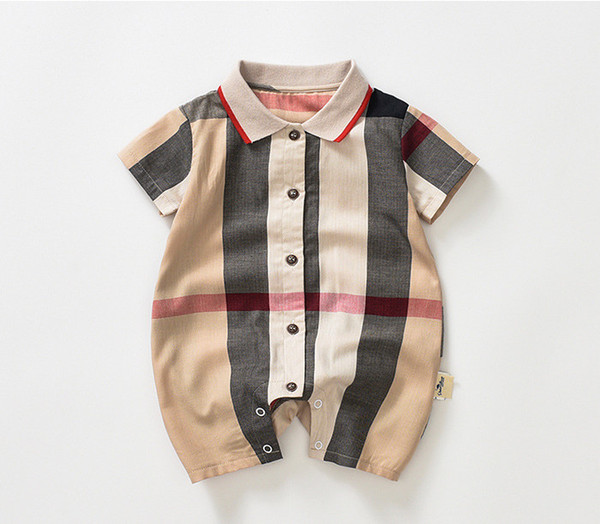 Baby boys Plaid romper toddler kids plaid lapel single breasted short sleeve jumpsuits designer Infant Onesie newborn Casual clothes Y2319