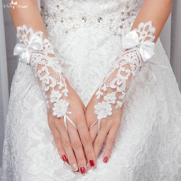 LZP111 Guanti da sposa corti in tulle con farfalle in tulle e perle