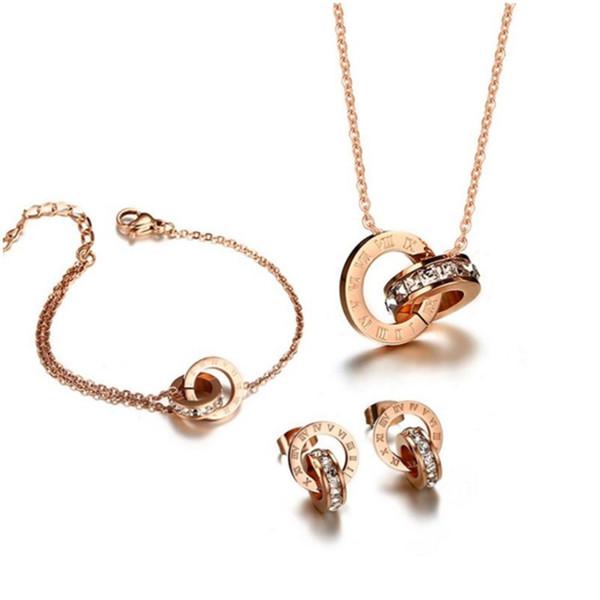 Lusso titanio acciaio oro rosa numeri romani ciondolo collana orecchini in acciaio inossidabile 316L gioielli donna set regalo di San Valentino