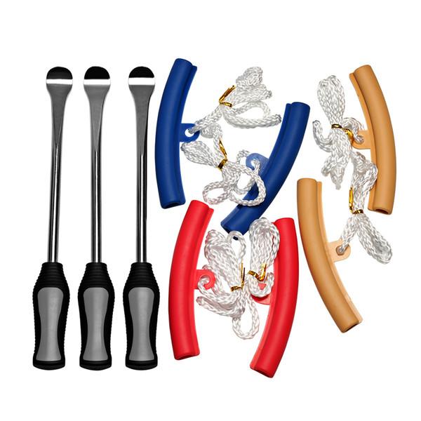 3pcs Motorcycle Changing Repair Tool Kit Gray + 2x plastic Wheel Rim Protectors For Harley Davidson/Yamaha/Suzuki/Honda/BMW