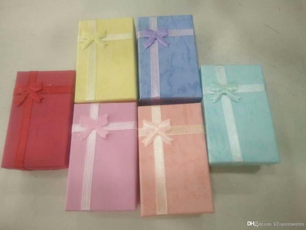 24pcs / lot 5x8x2.5cm mode affichage boîte d'emballage Bague Boucle D'oreille Bracelet Collier Ensemble Boîte-cadeau Pour Bijoux Cadeau