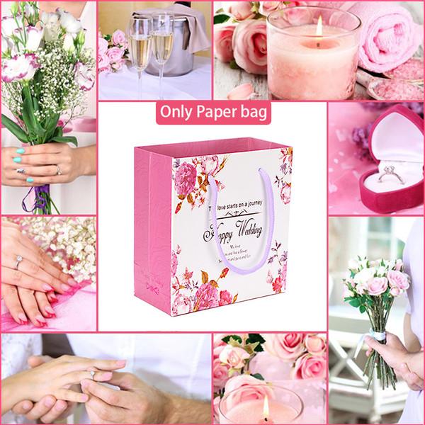 5 Stücke Hochzeit Liefert Festival Präsentieren Tragbare Geschenktüte Candy Party Briefe Papier Wrap Praktische Faltbare Zarte Blumendruck