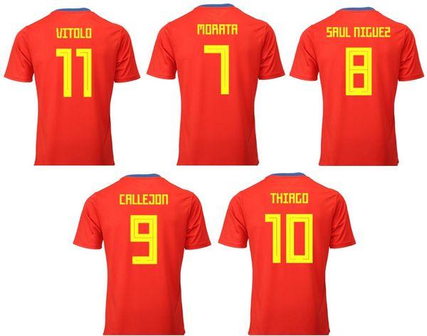 sports shoes 2b52b 2bb9a 2019 2019 Spain #7 Alvaro Morata 8 Saul Niguez 9 Jose Callejon 10 Thiago  Alcantara 11 Vitolo Team Football Soccer Mens Shirts Sports Jerseys From ...