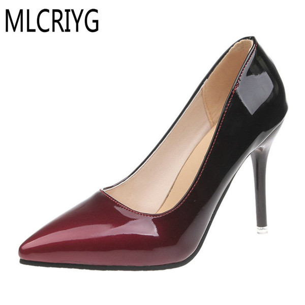 Designer Dress Shoes Size 34-40 2019 New Women Elegant Pumps Glossy Pointed Toe Shallow Woman Sexy Ladies Super High Heels For Weeding