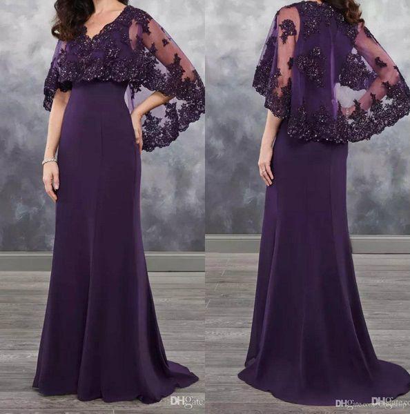 Dark Purple Mother Of The Bride Dresses chiffon with Bolero Applique Shining Sequins 2019 Lace chiffon Wedding Guest Dress