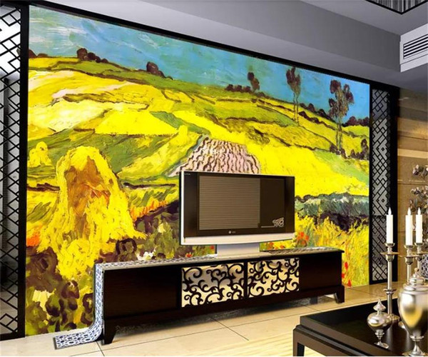 Custom Size 3d Photo Wallpaper Living Room Mural Van Gogh Oil Painting Picture Sofa Backdrop Mural Home Decor Creative Hotel Study Wallpape Mobile