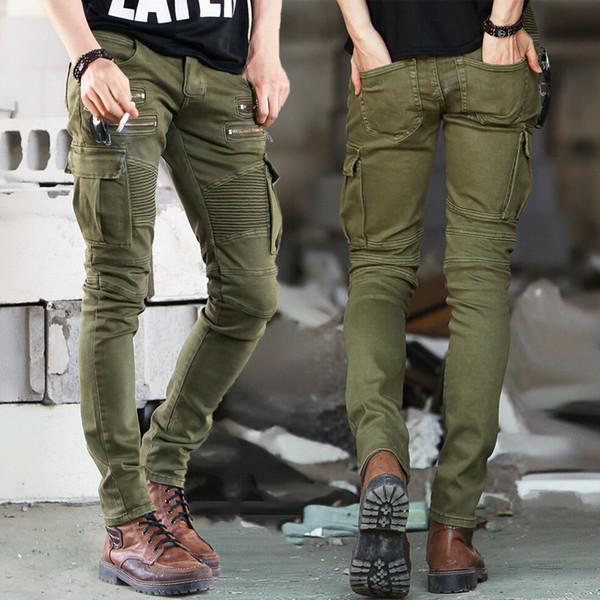 Verde Preto Jeans Motociclista Denim Mens Skinny 2015 Pista Afligida Slim Elastic Jeans Hiphop Lavado Y19060501