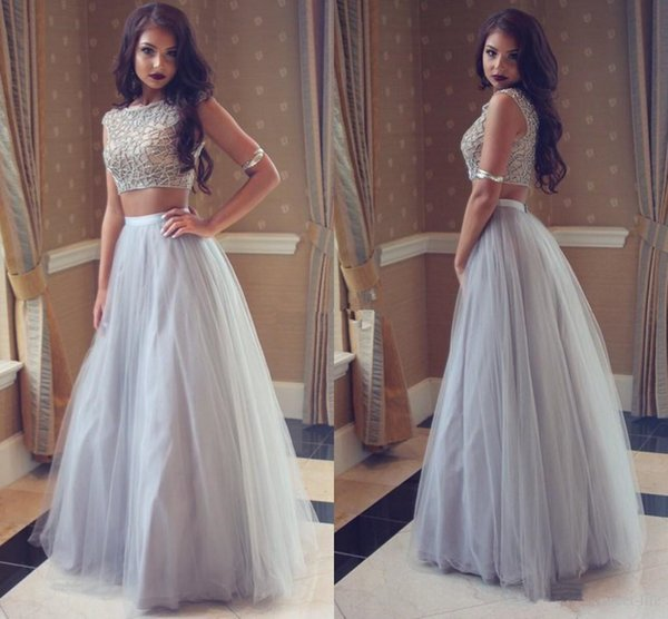 Silver Gray Tulle Long Prom Dresses Two Piece 2019 Sleeveless Full Length Top Lace Sexy College Homecoming Party Dress Evening Gowns