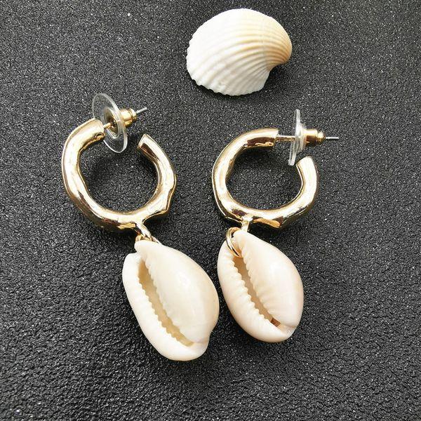 Hot Fashion Sea Shell boucles d'oreilles pour les femmes couleur or Shell Shell Cowrie Starfish boucles d'oreilles 2019 Summer Beach bijoux accessoires