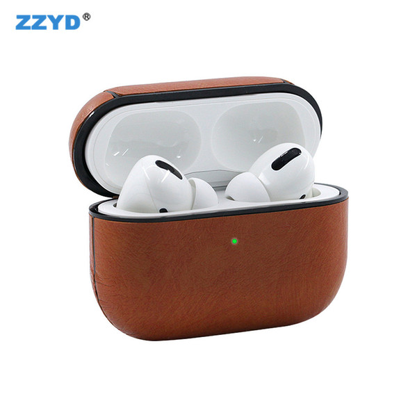ZZYD 2019 Newst Leather Airpods Case PU Cover For Airpods Pro Cover For Apple Earphone Luxury Charging Box Protective Shockproof Case