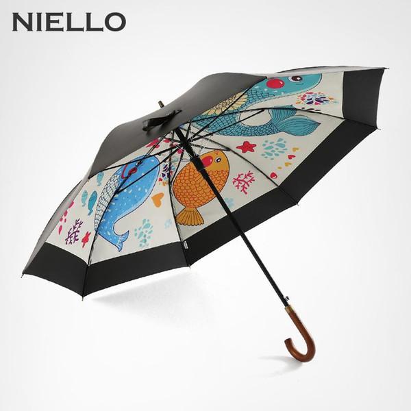 NEILLO Guarda-chuva das Mulheres À Prova de Vento Camada Dupla Anti UV Parasol UV Revestimento De Madeira Longo Lidar Com Umbrella Chuva Grande Para Homens
