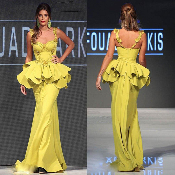 2019 New Charming Spaghetti Mnm Couture Dresses Evening Wear Appliqued Beaded Mermaid Celebrity Dress Floor Length Backless Evening Gowns