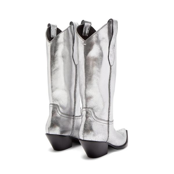 2019 original vraiment à l'aise nouvelles images de Silver Hiver Bottines Femme Sewing Desinger Leather Cowboy Wedges Women  Western Boots Suqare Toe Slip On Mid Calf Cool Boots Football Boots Womens  ...