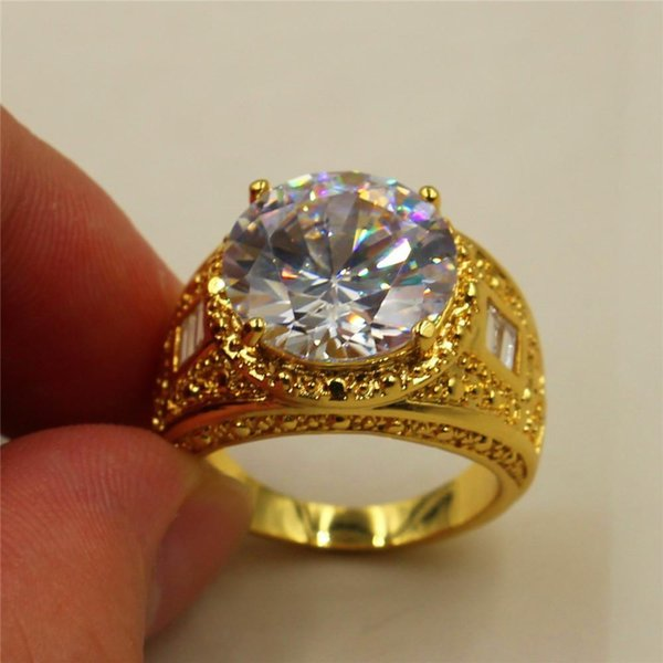 Go888Store Free Shipping 2019 hot Size 8/9/10/11 Vintage 15ct Round White Simulated Diamond CZ Stone 18K Yellow Gold Filled Ring for Men