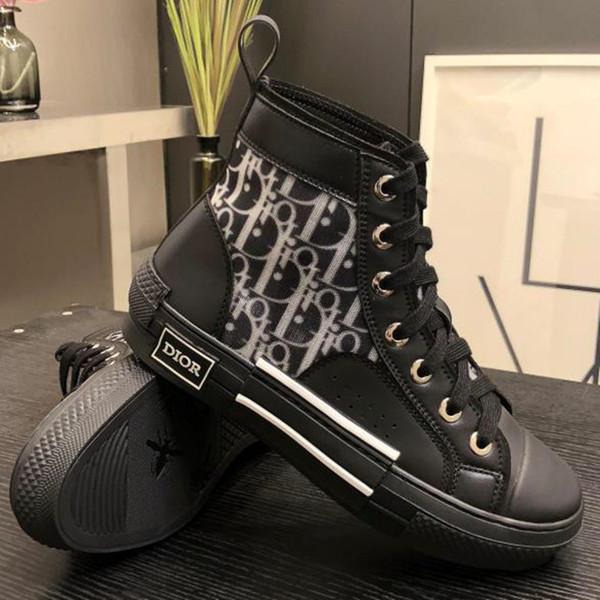 Kalbsleder Großhandel Qualitätsschuh High Turnschuhe Segeltuchschuhe Gummisohle Herren Designer Schuhe Luxus Sneaker Transparent B23 Damen Top Schwarz dBshCxortQ