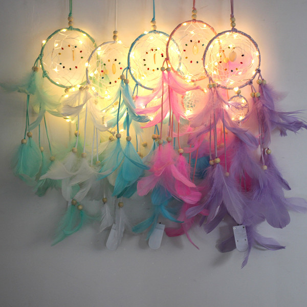 best selling Feather Dreamcatcher Girl Catcher Network LED Light Dream Catcher Bed Room Hanging Ornament Cartoon Accessories INS pendant C789