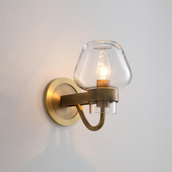 Moderna lampada da parete in ottone singola sfumatura Glass Globe riparo della parete di casa corridoio decorazione F054