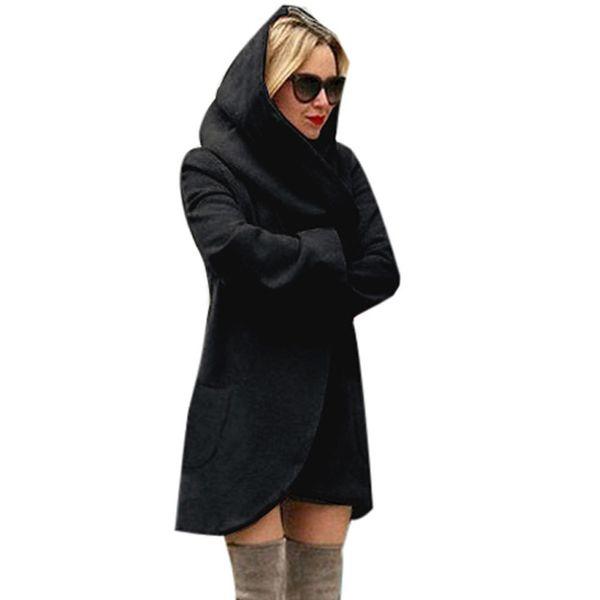 Women Winter Polyester Woolen Hooded Thin Coat Loose Ladies Casual Hoodies Jacket Overcoat Top Girl Pocket Thin Coat
