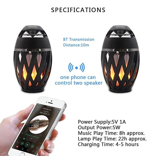 LED Flame Speakers Torch Handle Outer Speaker Bluetooth 4.2 Wireless Portable Outdoor HD Audio Waterproof Speaker with LED TWS Mini Speaker