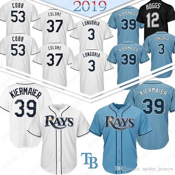 Top quality 12 Wade Boggs 3 Evan Longoria 39 Kevin Kiermaier Tampa Jersey Bay Baseball Jerseys Ray