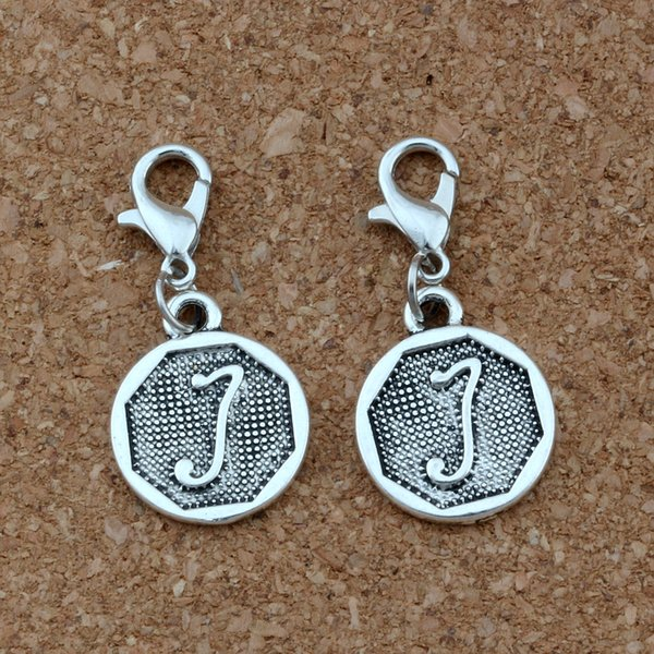 """50pcs Alloy Initial Alphabet Disc """"J """" Floating Lobster Clasps Charm Beads Antique Silver Fit Charm Bracelet DIY Jewelry A-402b"""