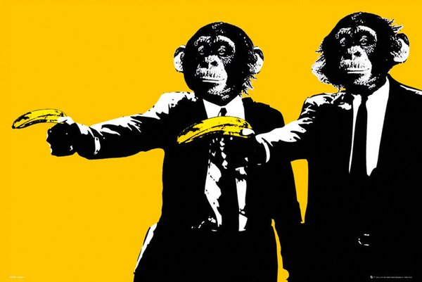 Monkeys Bananas Maxi Decor Art Silk Poster 24x36inch 24x43inch