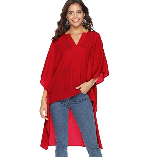 Blusa de gasa única mujer 2019 suelta manga murciélago mujer Tops con cuello en V camisa de verano moda mujer negro rojo Tops Femme S M XL