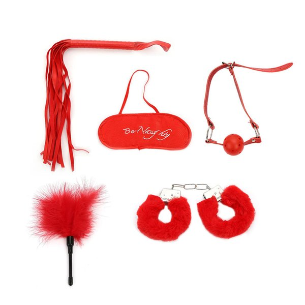 Red Metal Handcuffs Blindfold Sexy Five Pieces Set Adult Alternative Flirting Whip eye mask handcuffs tickle free shipping