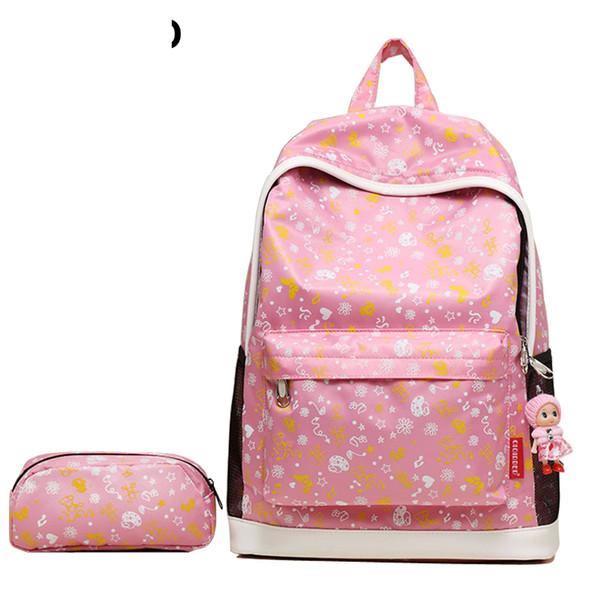 2019 Fashion School Bags For Teenagers Girls Rucksack Cute Waterproof Children Backpacks Set Print Laptop Backpack Pt1075