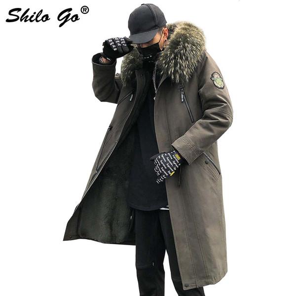 4XL Mens Winter Army Green Parkas Coats Thick Parkas Plus Size Zipper Real Fur Collar Hooded Rabbit Lining Outwear Fur Coat