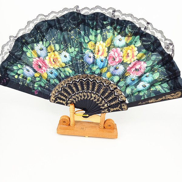 12pcs Summer Chinese/Spanish Style Dance Wedding Party Lace Silk Folding Hand Held Flower Fan Gift Colorful Random Pattern