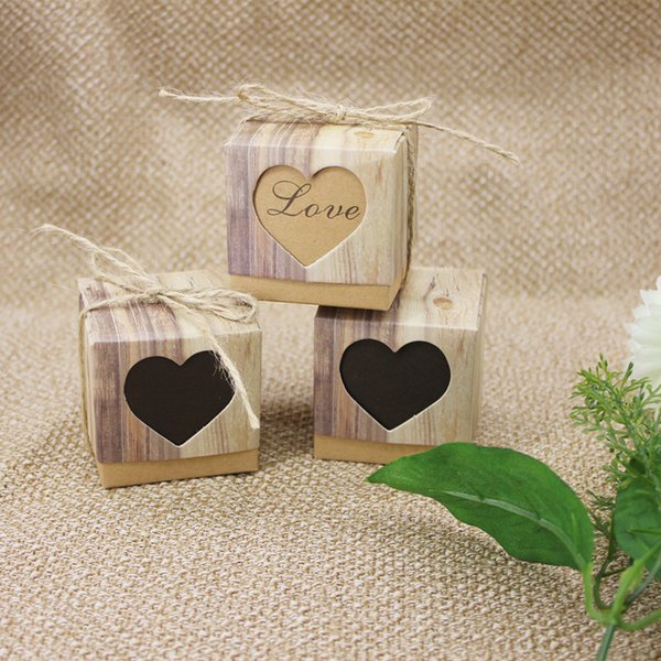 Amor Corazón Favor paquete de regalo 2 Diseños Fiesta de cumpleaños de boda Joyería de jabón DIY Caja de dulces de papel Kraft Bolsas de regalo 50 piezas ePacket