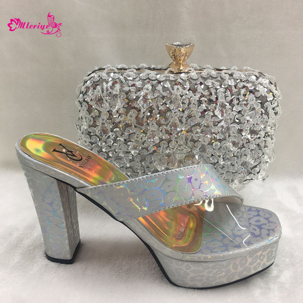 2019 Latest Silver Color Fashion Party Italian Shoes And Clutch Bags To Match Set African High Heels Slippers for Wedding Party