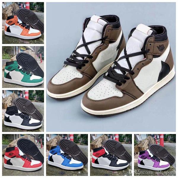72a2a55be57d 2019 Nouveau Travis 1 1s Haute OG TS SP Chaussures De Basket-ball Hommes  Femmes Multicolore Baskets De Sport taille 36-45