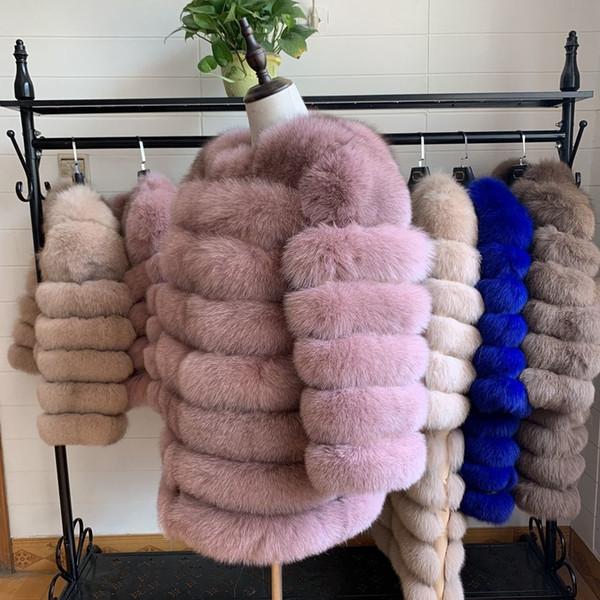 NOUVEAU 70cm femmes chaud manteau de fourrure de renard réel court mince hiver Veste en fourrure véritable mode Outwear luxe Fox naturel Manteau de fourrure pour Y191206