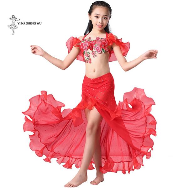 Traje de Dança Do Ventre das meninas Mais Novo 2 Pçs / set Bra + Saia bellydance Roupas Crianças Dança Oriental dancwear desempenho para criança