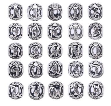 Diy letter beads s 925 sterling silver loose beads good quality jewelry 26 alphabet jewelry 7
