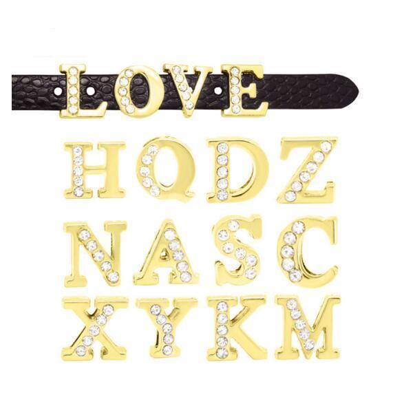 1300pcs 8MM Half Rhinestones Gold Color Slide Letters Slide Charms Fit 8MM DIY Wristband Belt Band