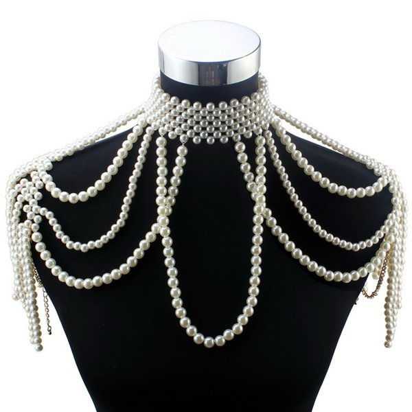 Florosy Long Bead Chain Chunky Simulated Pearl Necklace Body Jewelry For Women Costume Choker Pendant Statement Necklace New J190711