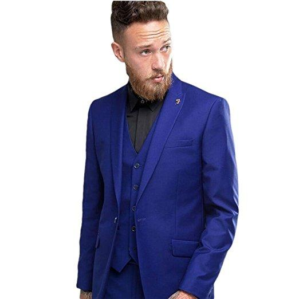 Popular One Button Groomsmen Peak Lapel Groom Tuxedos Men Suits Wedding/Prom Best Man Blazer ( Jacket+Pants+Vest+Tie) 213