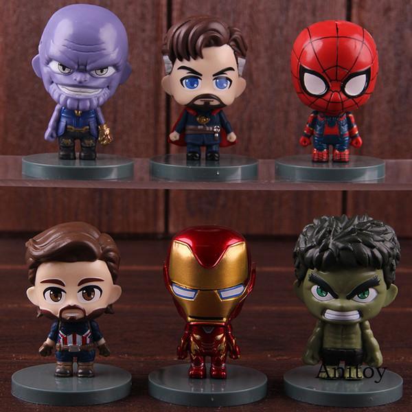 Marvel Avengers Infinity War Thanos Hulk Spiderman Captain America Doctor Strange Iron Man Action Figure PVC Toys 6pcs/set