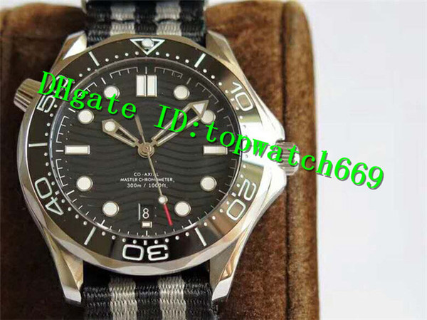 VS New Luxury Watch Stainless Steel Case Ceramic Bezel Black Dial Black & Grey Nylon Strap Swiss 8800 Automatic Sapphire Crystal Mens Watch